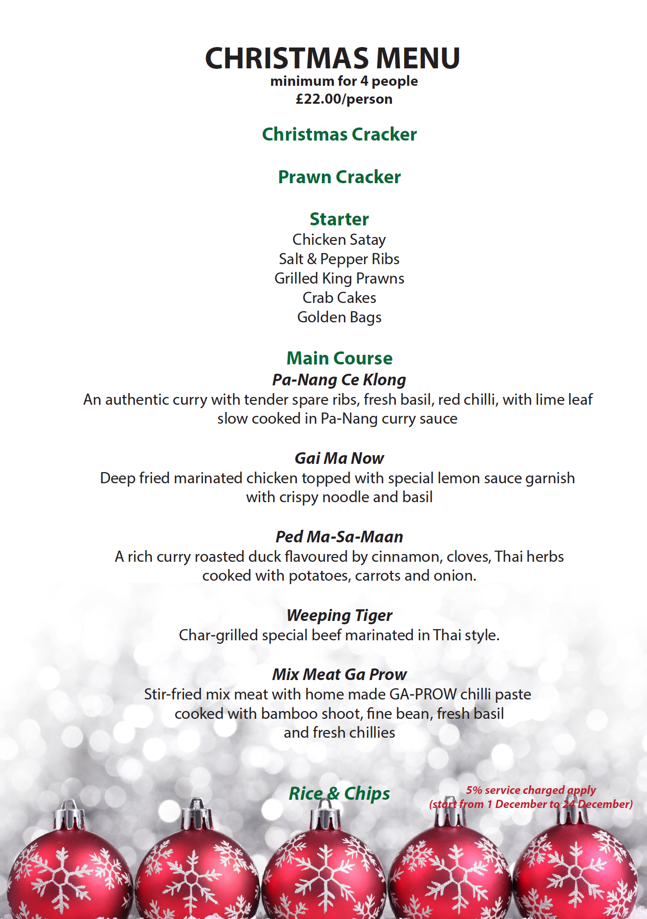 Christmas Menu.Thai Sun Thai Food Take Away Home Deliveries
